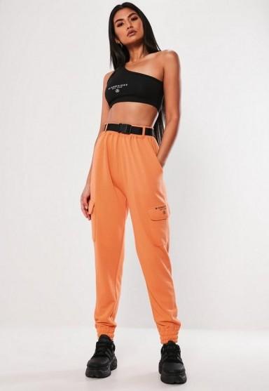 MISSGUIDED orange cargo pocket joggers – bright jogging pants
