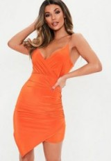 MISSGUIDED orange strappy slinky wrap bodycon dress ~ ruched asymmetric style ~ going out dresses