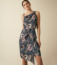 REISS OSTIA PRINTED ONE SHOULDER COCKTAIL DRESS MULTI BLUE ~ abstract print event dresses