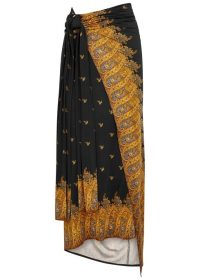 PACO RABANNE Black printed jersey wrap skirt. SARONG STYLE SKIRTS