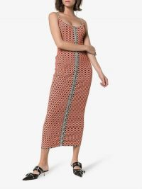 Paco Rabanne Reversible Checked-Knitted Cotton-Blend Dress in red and grey