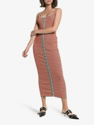 Paco Rabanne Reversible Checked-Knitted Cotton-Blend Dress in red and grey - flipped