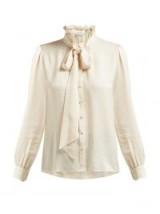 SAINT LAURENT Paisley-brocade silk shirt ~ romantic high neck blouses ~ cream pussy bow shirts