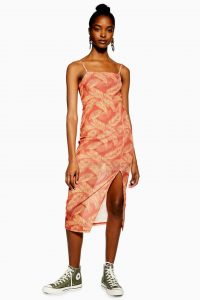 Topshop Palm Mesh Slip Dress in Rust | front slit cami dresses