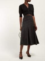 MIU MIU Panelled grey denim midi skirt