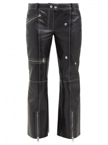ALEXANDER MCQUEEN Panelled kick-flare leather trousers in black ~ structured zipped pants