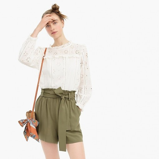 J.Crew Paper bag short in Frosty Olive | green tie waist shorts
