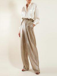 BALMAIN Paperbag-waist gold lamé trousers / luxe evening pants