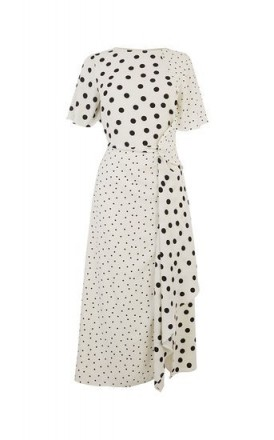 OASIS PATCHED SPOT MIDI DRESS Black and White / monochrome fashion