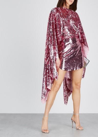 PAULA KNORR Pink cape-effect sequin mini dress / dazzling dresses / event glamour