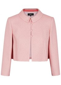 PAULE KA Pink cropped jacquard jacket ~ chic Jackie O style clothing