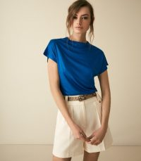 Reiss PAX HIGH NECK TOP COBALT | effortless style fashion