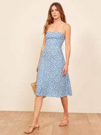 Reformation Peach Dress in Marie | blue floral skinny strap dresses