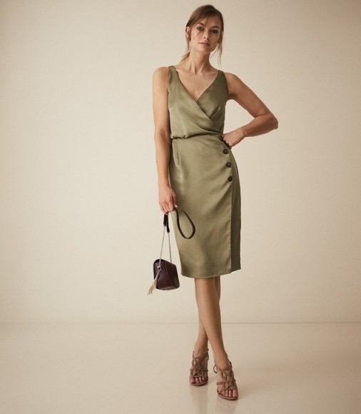 REISS PEPPA BUTTON DETAIL DRESS GREEN ~ luxe satin pencil dresses