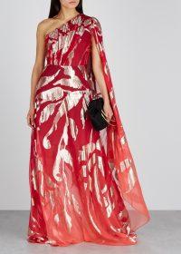 PETER PILOTTO Red jacquard silk-blend gown ~ metallic foliage prints