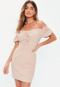 MISSGUIDED petite blush bardot lace up mini dress ~ off the shoulder dresses