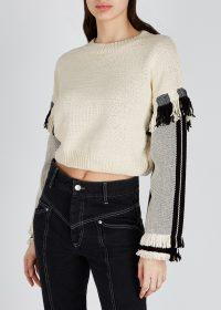 3.1 PHILLIP LIM Dark ivory cotton-blend jumper | cropped fringe trimmed sweater | neutral knitwear