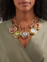 SONIA BOYAJIAN Picabia ceramic and crystal-drop necklace ~ multicoloured chunky-crystals and gemstone jewellery