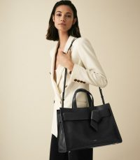 REISS PICTON BOW DETAILED LEATHER TOTE BLACK ~ bows on bags