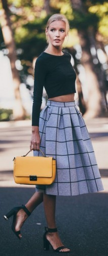 Street style chic…black long sleeved crop top, grey & black check midi skirt, black mid heel ankle strap shoes & yellow handbag for a pop of colour. Style inspiration   stylish day outfits