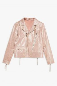 Topshop Pink Cracked Look Biker Jacket | girly zip detail jackets | casual luxe