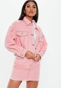 MISSGUIDED pink denim cropped contrast stitch co ord jacket ~ girly colours