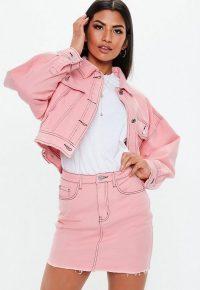 MISSGUIDED pink denim raw hem contrast stitch co ord micro mini skirt