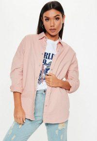 MISSGUIDED pink oversized washed denim shirt