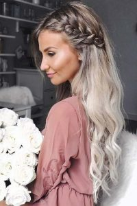 Braided long hair. Such a pretty look