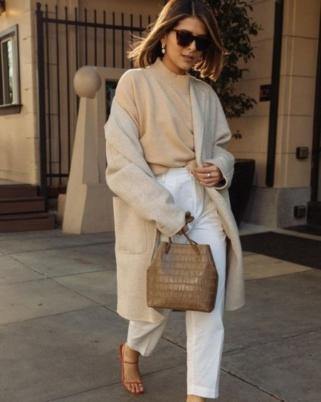Mixed neutrals equals effortless style / chic street outfits - flipped