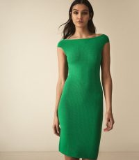 Reiss PIPPA KNITTED BARDOT BODYCON DRESS GREEN / effortless style