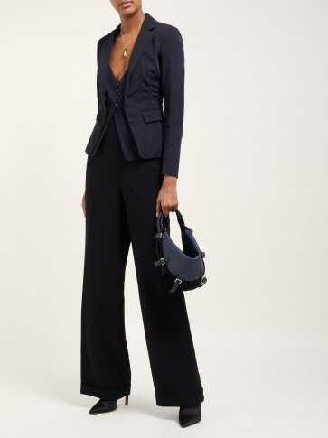 ALTUZARRA Play small buckled leather and suede bag in Navy