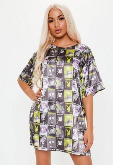 playboy x missguided black magazine print t shirt dress ~ printed tee dresses