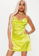 playboy x missguided lime cowl front chain mini dress ~ sassy going out fashion