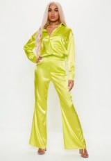 playboy x missguided lime wide leg trousers ~ yellow-green pants