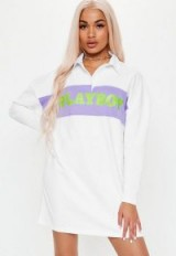 playboy x missguided white neon slogan panel rugby dress ~ sporty style fashion