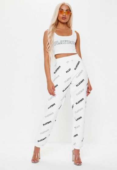 playboy x missguided white repeat print joggers ~ casual style
