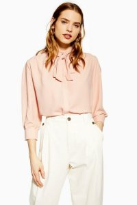 Topshop Pleat Tie Neck Shirt in Pink | pussy bow blouses