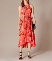 KAREN MILLEN Pleated Floral Dress in Coral