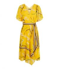 KAREN MILLEN Pleated Floral Midi Dress Yellow / oriental prints