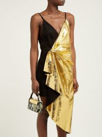 GUCCI Pleated metallic-leather and suede mini dress ~ gold dresses