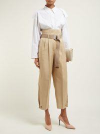 GIVENCHY Pleated-waist high-rise twill trousers in beige ~ tailored crop leg pants