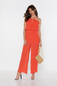 NASTY GAL Plissé Don't Stop the Music Wide-Leg Jumpsuit in Orange – vibrant going out fashion