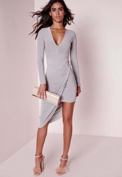 Affordable glamour – Missguided plunge asymmetric wrap dress in grey. Going out fashion / party dresses / evening wear - flipped