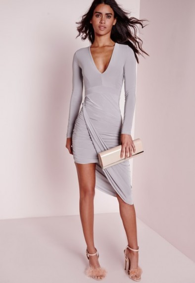 Affordable glamour – Missguided plunge asymmetric wrap dress in grey. Going out fashion / party dresses / evening wear