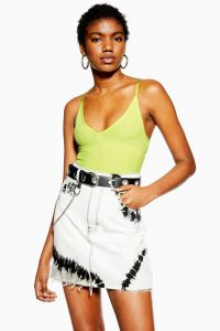 Topshop Plunge Strappy Bodysuit in Lime