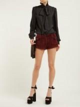 SAINT LAURENT Pocket-front corduroy shorts in burgundy ~ vintage summer look