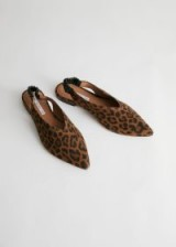 STORIES Pointed Leopard Suede Slingback Flats