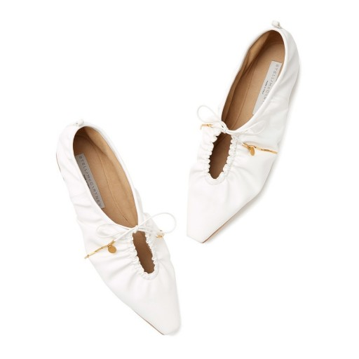 Stella McCartney POINTY TOE FLATS WITH LACES in White ~ chic flat shoes
