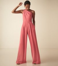 REISS POLLY ASYMMETRIC SHOULDER WIDE LEG JUMPSUIT CORAL ~ tailored event clothing